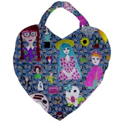 Blue Denim And Drawings Daisies Giant Heart Shaped Tote