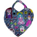 Blue Denim And Drawings Daisies Giant Heart Shaped Tote View1