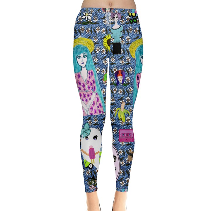 Blue Denim And Drawings Daisies Inside Out Leggings