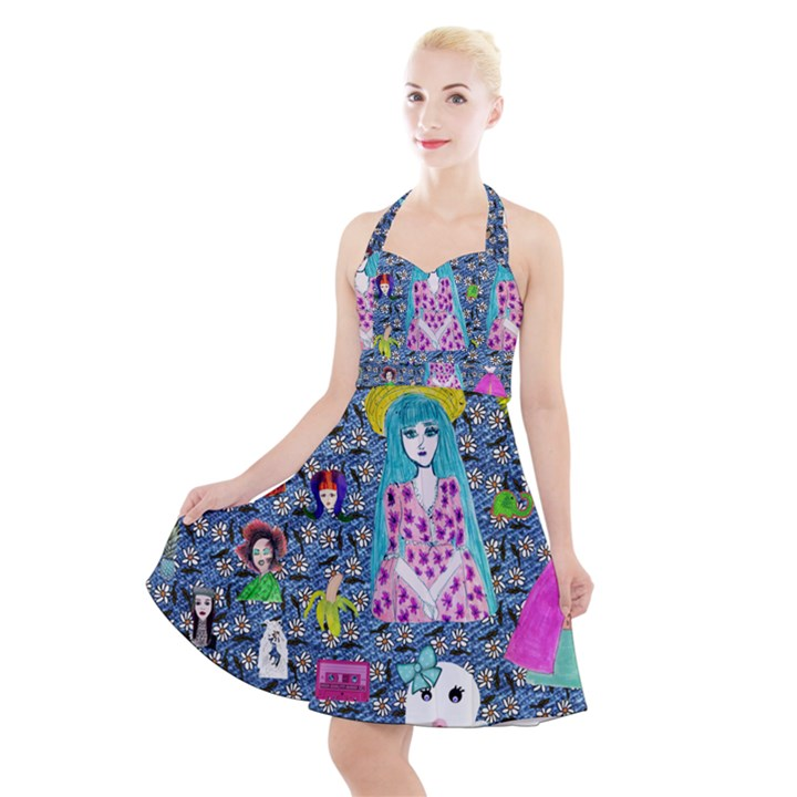 Blue Denim And Drawings Daisies Halter Party Swing Dress