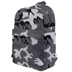 Army Winter Camo, Camouflage Pattern, Grey, Black Classic Backpack by Casemiro