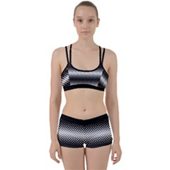 Geometrical Blocks, Rhombus Black And White Pattern Perfect Fit Gym Set by Casemiro