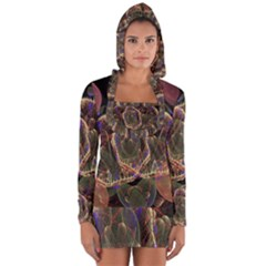 Fractal Geometry Long Sleeve Hooded T-shirt by Sparkle