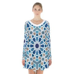 Arabic Geometric Design Pattern  Long Sleeve Velvet V-neck Dress