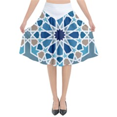 Arabic Geometric Design Pattern  Flared Midi Skirt
