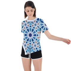 Arabic Geometric Design Pattern  Asymmetrical Short Sleeve Sports Tee by LoolyElzayat