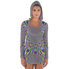 Psychedelic Wormhole Long Sleeve Hooded T-shirt by Filthyphil