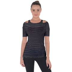 Black Crocodile Skin Shoulder Cut Out Short Sleeve Top by LoolyElzayat