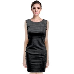 Black Crocodile Skin Sleeveless Velvet Midi Dress by LoolyElzayat