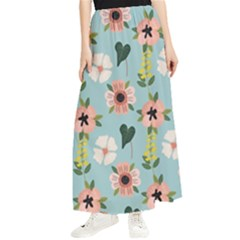Flower White Blue Pattern Floral Maxi Chiffon Skirt by Mariart