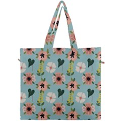 Flower White Blue Pattern Floral Canvas Travel Bag