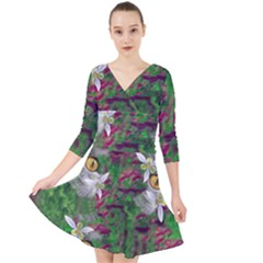 Illustrations Color Cat Flower Abstract Textures Quarter Sleeve Front Wrap Dress