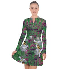 Illustrations Color Cat Flower Abstract Textures Long Sleeve Panel Dress by Alisyart