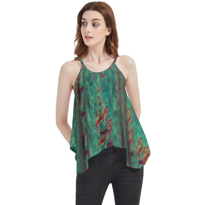 Color Fine Texture Green Flowy Camisole Tank Top