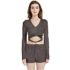 Chestnut Nile Crocodile Skin Velvet Wrap Crop Top And Shorts Set by LoolyElzayat