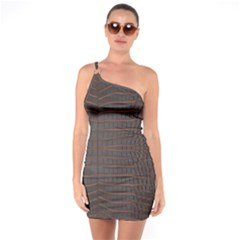 Chestnut Nile Crocodile Skin One Soulder Bodycon Dress by LoolyElzayat