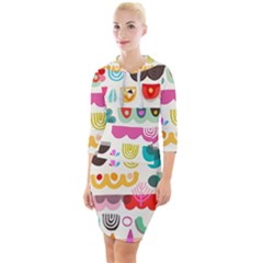 Scandinavian Folk Art Wave Craze Quarter Sleeve Hood Bodycon Dress