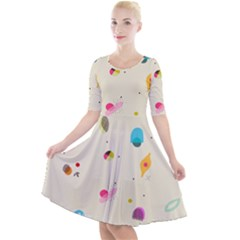 Dots, Spots, And Whatnot Quarter Sleeve A-line Dress by andStretch