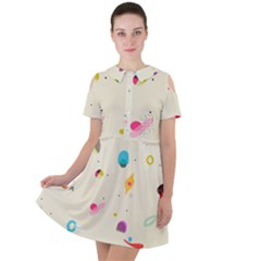 Dots, Spots, And Whatnot Short Sleeve Shoulder Cut Out Dress