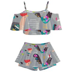 Scandinavian Birds Feather Weather Kids  Off Shoulder Skirt Bikini