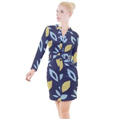 Laser Lemon Navy Button Long Sleeve Dress