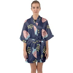 Strawberry Fields Half Sleeve Satin Kimono  by andStretch
