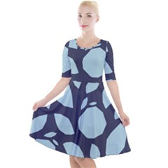 Orchard Fruits In Blue Quarter Sleeve A-line Dress by andStretch