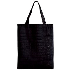 Black Alligator Skin Zipper Classic Tote Bag by LoolyElzayat