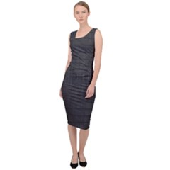 Black Alligator Skin Sleeveless Pencil Dress by LoolyElzayat