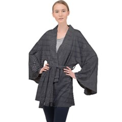 Black Alligator Skin Long Sleeve Velvet Kimono  by LoolyElzayat