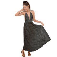 Black Alligator Skin Backless Maxi Beach Dress