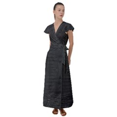 Black Alligator Skin Flutter Sleeve Maxi Dress by LoolyElzayat
