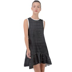 Black Alligator Skin Frill Swing Dress by LoolyElzayat