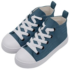 Turquoise Alligator Skin Kids  Mid-top Canvas Sneakers by LoolyElzayat