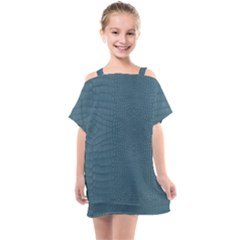 Turquoise Alligator Skin Kids  One Piece Chiffon Dress by LoolyElzayat