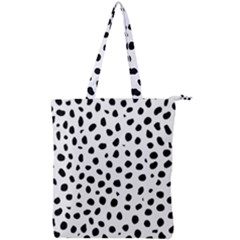 Black And White Seamless Cheetah Spots Double Zip Up Tote Bag by LoolyElzayat