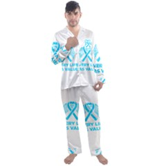 Child Abuse Prevention Support  Men s Long Sleeve Satin Pyjamas Set