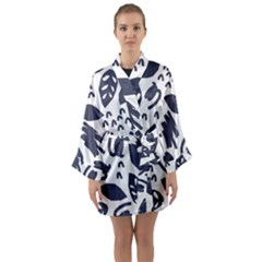 Orchard Leaves Long Sleeve Satin Kimono by andStretch
