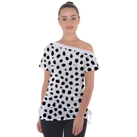 Black And White Seamless Cheetah Spots Tie-up Tee by LoolyElzayat