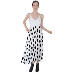 Black And White Seamless Cheetah Spots Tie Back Maxi Dress