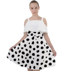 Black And White Seamless Cheetah Spots Cut Out Shoulders Chiffon Dress