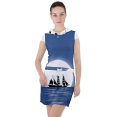 Boat Silhouette Moon Sailing Drawstring Hooded Dress