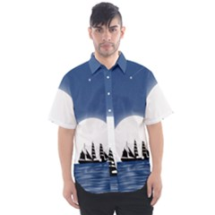 Boat Silhouette Moon Sailing Men s Short Sleeve Shirt