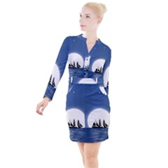 Boat Silhouette Moon Sailing Button Long Sleeve Dress