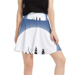 Boat Silhouette Moon Sailing Waistband Skirt