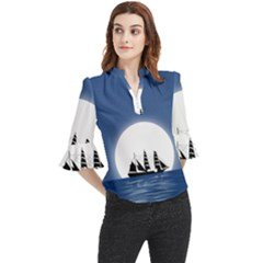 Boat Silhouette Moon Sailing Loose Horn Sleeve Chiffon Blouse