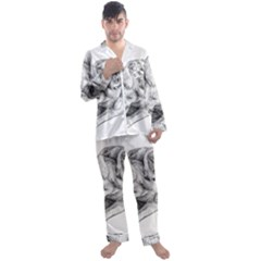 Cat Drawing Art Men s Long Sleeve Satin Pyjamas Set