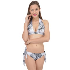 Cat Drawing Art Tie It Up Bikini Set
