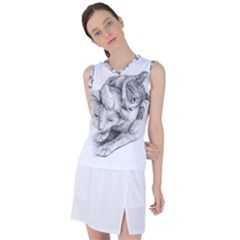 Cat Drawing Art Women s Sleeveless Sports Top by HermanTelo