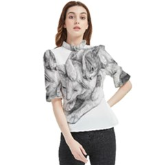 Cat Drawing Art Frill Neck Blouse